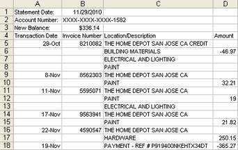 Excel/CSV transactions
