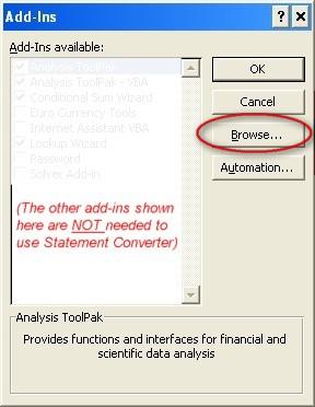 Excel Add-ins menu