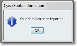 QuickBooks import complete